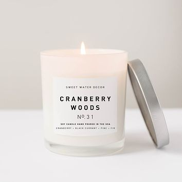 Cranberry Woods Soy Candle | White Jar Candle