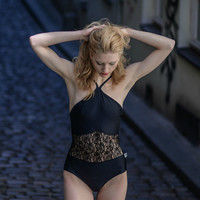 Leotard with thin hangers and lace for  Bikram yoga
