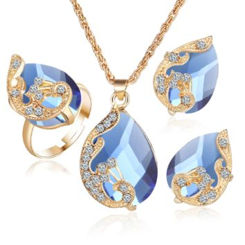 Plated Gold Austrian Crystal Water Drop Peacock Three Piece Set Pendant Necklace Earrings Ring Set