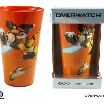 16oz OFFICIAL Overwatch TRACER Pint Glass with Flat Artwork Design Novelty Gift