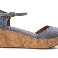 Blue Chambray Women's Platform Wedges US