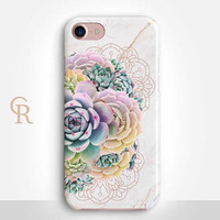 Succulent Phone Case For iPhone 8 iPhone 8 Plus - iPhone X - iPhone 7 Plus - iPhone 6 - iPhone 6S - iPhone SE - Samsung S8 - iPhone 5 Marble