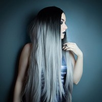 Grey Ombre - Lush Wigs - Long Straight Grey Ombre Lace Front Black Lush Wig