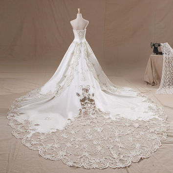 White Wedding Dress Satin Lace Wedding Dress  with Beads and applique Waistband strapless collar custom by order