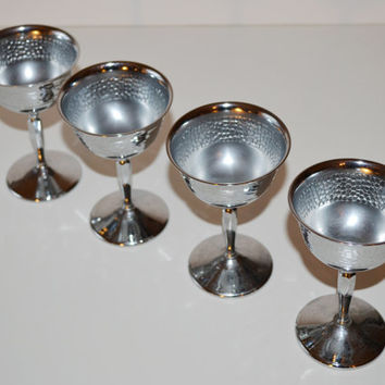 Vintage Set of 4 Silver Stainless Chrome Goblets Silver Cups Silver Cordial Cups Mid Century Barware