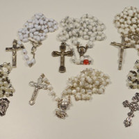 Rosary Lot 6 Rosaries Variety of Styles Shades of White and Cream Faux Pearls
