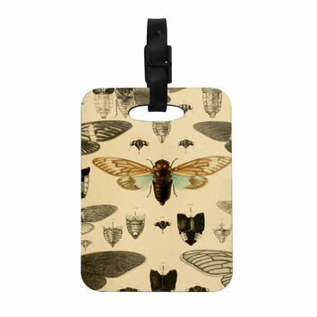 "Suzanne Carter ""Vintage Cicada"" Bugs Pattern Decorative Luggage Tag"
