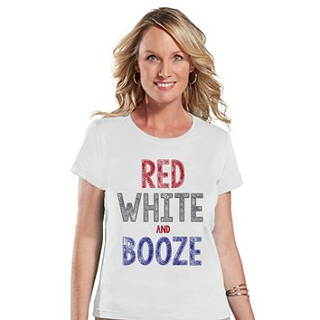 Women's 4th of July Shirt - Red White & Booze Shirt - Fourth of July T Shirt - White Tee - Fourth of July Outfit - Funny 4th of July Shirt
