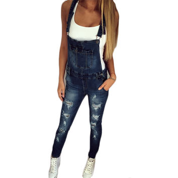 2017 Autumn Pants Jumpsuits Women Overalls Jeans Jumpsuit Office Casual Hole Denim Jumpsuits Pencil Long Pant Femme