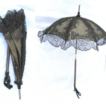 Victorian Mourning Parasol Antique Folding Umbrella Black Lace Needs Repair c 1870s