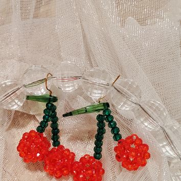 Crystal Bead Cherry Earrings