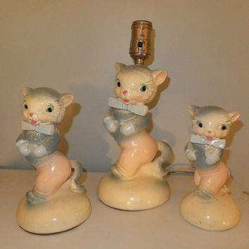 Nursery Lamp - Matching Figurines - Kittens with Bowties, Sweet Cat Set, 1951 Bo-Low Chalkware, Gray, Cream, Pink, Dresser Set, Baby Decor