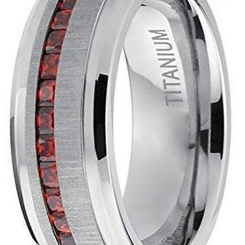 CERTIFIED 8mm Men's Eternity Titanium Wedding Band Engagement Ring W/ Red Simulated Garnet Cubic Zirconia Princess cut CZ