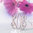 Rose gold plated monogram style necklace 1.5 inch 3 initial name customized necklace jewelry