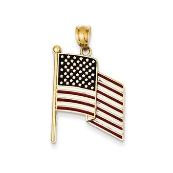 14k Yellow Gold Enameled Waving American Flag Pendant