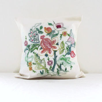 Hand embroidered cushion cover, 16 inch pillow, floral embroidery, Jacobean style embroidery, traditional pillow cover, handmade in the UK