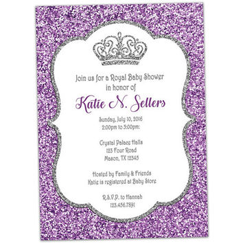 Lavender Princess Baby Shower Invitation - Little Princess Baby Shower - Purple and Silver Glitter - Girl Baby Shower Invites - Custom