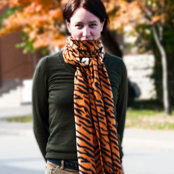 Tiger Fleece Scarf Orange and Black Tiger Stripe Extra Long Extra Wide Free Shipping for 2 or More Items in the U.S.A. / Canada