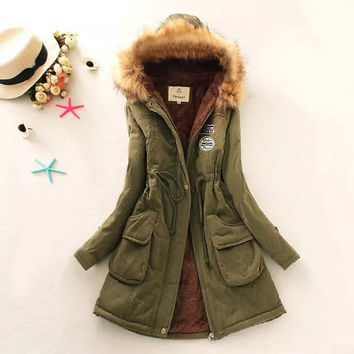 Letter Patchwork Cotton Fur Hooded Zipper Pocket Parkas