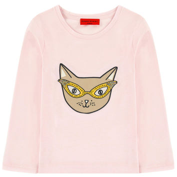 Sonia Rykiel Girls Pink Cat Long-Sleeved T-shirt