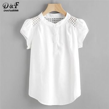 Dotfashion Eyelet Embroidered Panel Blouse White Button Band Collar Cap Sleeve Top Women Casual Petal Sleeve Blouse