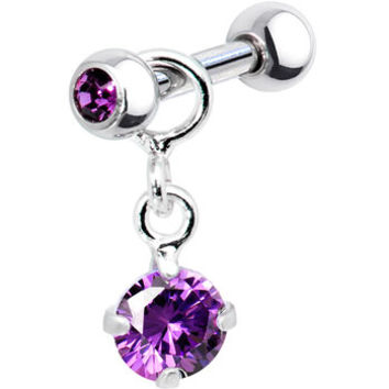 Silver 925 Amethyst Cubic Zirconia Dangle Cartilage Earring | Body Candy Body Jewelry