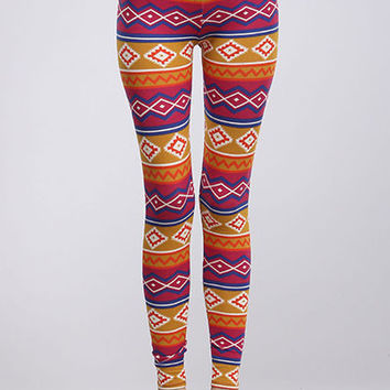 Aztec Tribal Print High Waist Stretch Cotton Leggings Ankle Tights