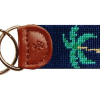 Palm Tree Needlepoint Key Fob in Dark Navy by Smathers & Branson