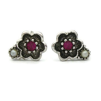 "Avon Small Silver Tone Flower ""Rosegay"" Clip On Earring Seed Pearl Bead & Purple Rhinestone Vintage Signed Clip Ons 1970s 1974 Faux Amethyst"