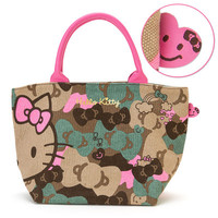 Hello Kitty Canvas Handbag Bag Ribbon Camouflage SANRIO JAPAN