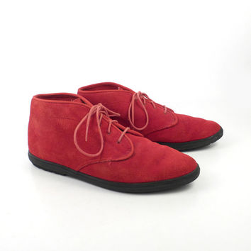 Keds Ankle Boots Vintage 1980s Lace Up Flat Granny Red Suede Booties Women's size 9