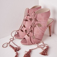 Missguided - Lace Up Tassel Heeled Sandals Rose