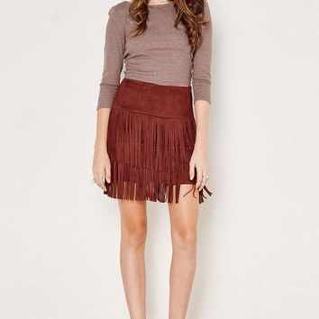Brick Red Mojave Faux Suede Fringe Skirt