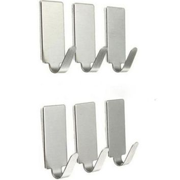 6pcs Adhesive Stainless Steel Hooks Stick Holder Bathroom Wall Door Hook Hanger DIY Home Hooks