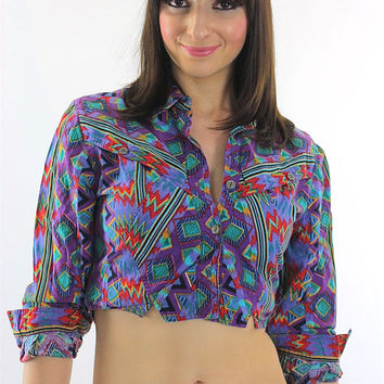 Bohemian Crop Top tribal shirt 80s Gypsy Cropped Purple button up top M