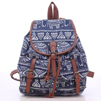 Day-First™ Blue Elephant Travel Bag Canvas Lightweight College Backpack