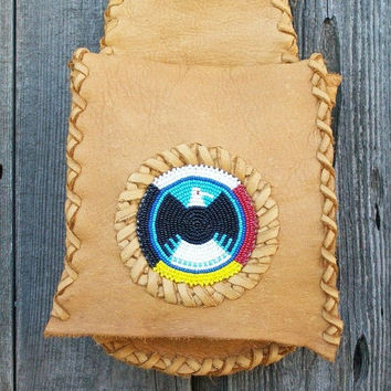 Beaded hip bag ,   Buckskin leather bag ,   Beaded eagle hip bag ,  Four directions beadwork