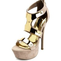 Metallic Caged Zip-Back Pump: Charlotte Russe