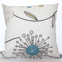 Dandelion Pillow Cover Pattern Blue Yellow Green Black and Cream Colours Pillow Cover - 18x18 inch
