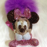 Bling Minnie mouse doll crystal charm handmade w/ Swarovski element