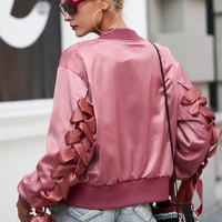 Women Satin Biker Jacket