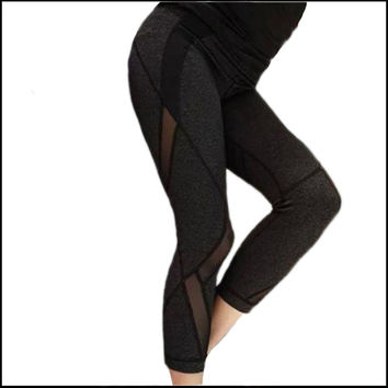 Net yarn stitching capris Women Yogaes Pants New Arrival Lulu pants leggings Sports pants for Female gym Sweatpants Trousers
