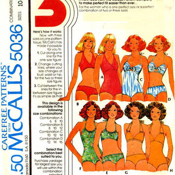 McCall's 5036 Retro 1970s Sewing Pattern Women's Bathing Swim Suit Bikini Swimsuit One or Two Piece Halter Top Bust 32 to 36