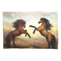 Two Horses Rearing Pillow Case
