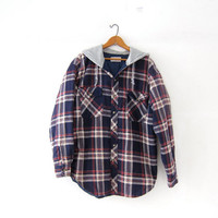 Vintage Plaid Flannel Hoodie. Grunge Shirt Jacket. Insulated Button Up Shirt Coat. Hooded Boyfriend Flannel