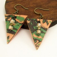 Polymer Clay Abstract Triangle Earrings,