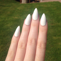 White Stiletto nails, Nail designs, Nail art, Nails, Stiletto nails, Acrylic nails, Pointy nails, Fake nails