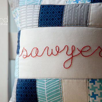 Custom Personalized Hand Embroidered Quilted Pillow Cover