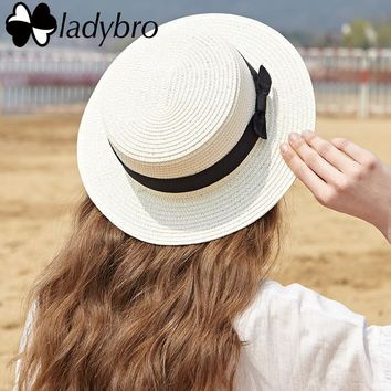 Ladybro 2018 Summer Women Boater Beach Hat Female Casual Panama Hat Lady Brand Classic Bowknot Straw Flat Sun Hat Women Fedora