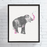 Elephant Watercolor Print, Baby Girl Nursery, Girls Room Decor, Elephant Art Print, Animal Art Print, Kids Room Decor, Kids Gift, Grey